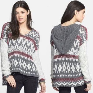 Free People Fair Isle Hooded Chunky Knit Sweater